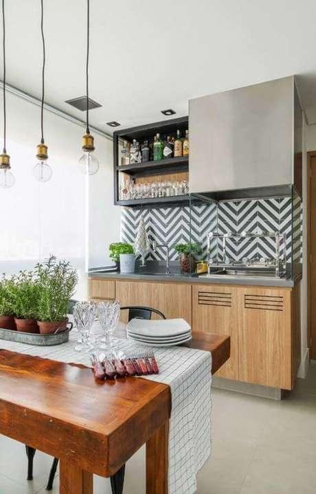 26. Área gourmet com revestimento geométrico – Via: Arkpad