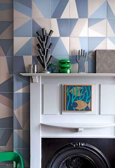 56. Revestimento geométrico azul – Via: Blueprint Ceramics