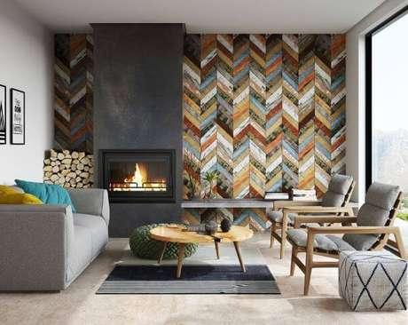 1. A sala também pode contar com o revestimento geométrico em diferentes cores – Via: Pinterest