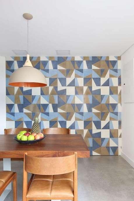 21. Revestimento geométrico para sala de jantar – Via: Casa Vogue