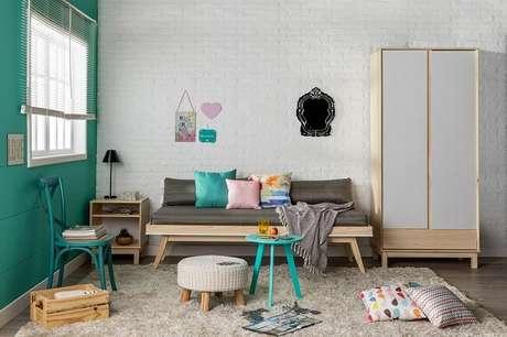 6. Tendências para quartos em 2021: tons de verde e azul transmitem serenidade. Fonte Pinterest