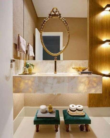 17. Banheiro chique com cuba de granito – Via: Pinterest