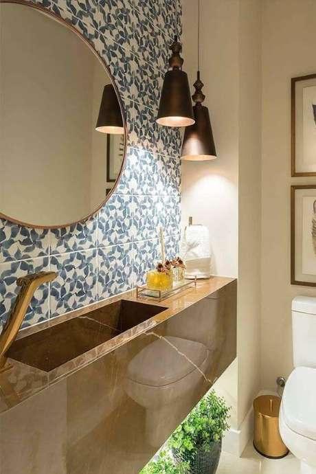 18. Banheiro moderno com cuba marrom – Via: Pinterest