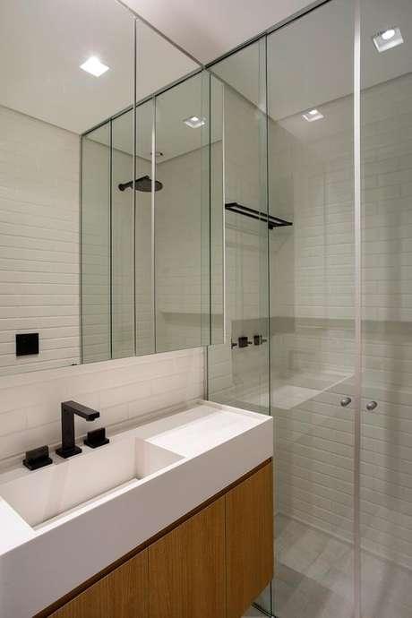 22. Banheiro com cuba branca – Via: Casa de valentina