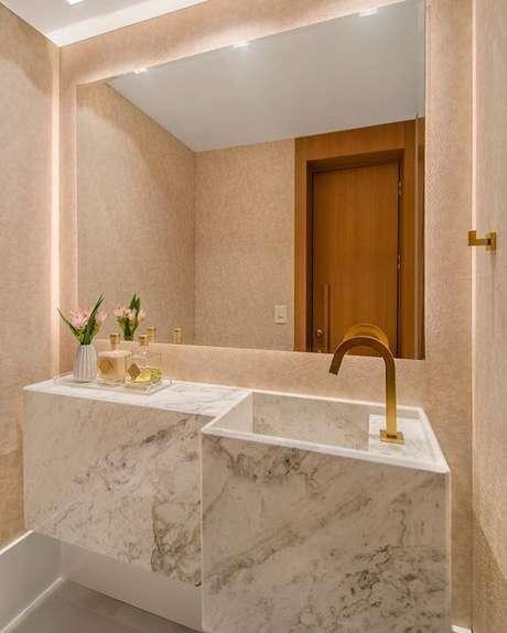 49. Cuba moderna em mármore para banheiro de luxo – Via: Pinterest
