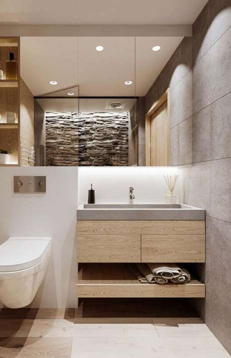 61. Conheça as vantagens de ter uma pia esculpida no banheiro – Via: Pinterest