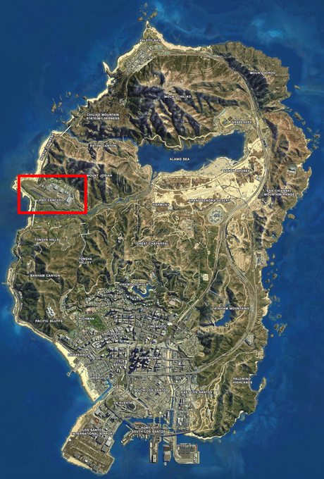 Localização do Forte Zancudo no mapa de GTA 5