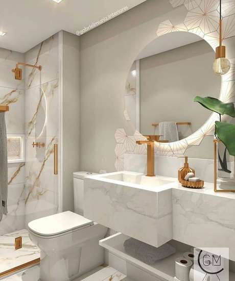 66. Cuba de mármore branco no banheiro luxuoso – Via: Pinterest