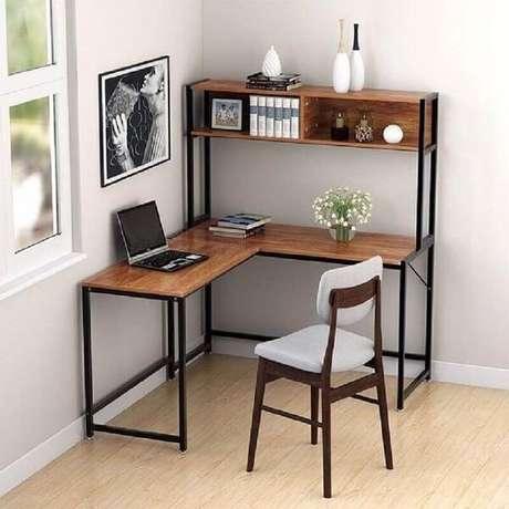 43. Escrivaninha de canto madeira com design minimalista. Fonte: Tribesigns Official