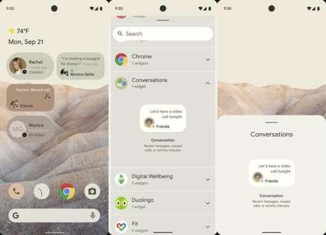Widgets de chat no Android 12