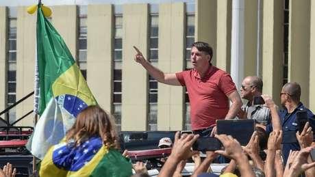 Presidente Jair Bolsonaro discursou no ano passado em ato que pediu fechamento do Congresso e do STF