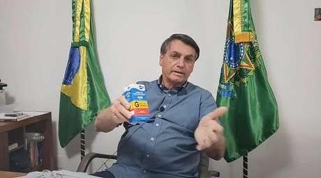 Presidente Jair Bolsonaro é um defensor da cloroquina contra a covid-19; o remédio não tem comprovação científica