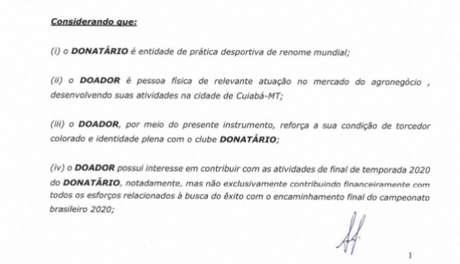 Trecho do documento expõe atribuição final de doação de Elusmar Maggi (Foto: Reprodução)