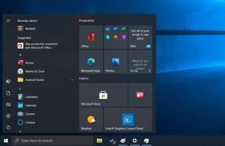 Provável menu Iniciar do Windows 10 21H2