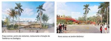 Imagens divulgadas pelo governo mostram sugestões de mudanças no Zoológico e no Jardim Botânico