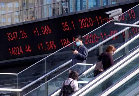Painel eletrônico com índices acionários em Xangai. REUTERS/Aly Song