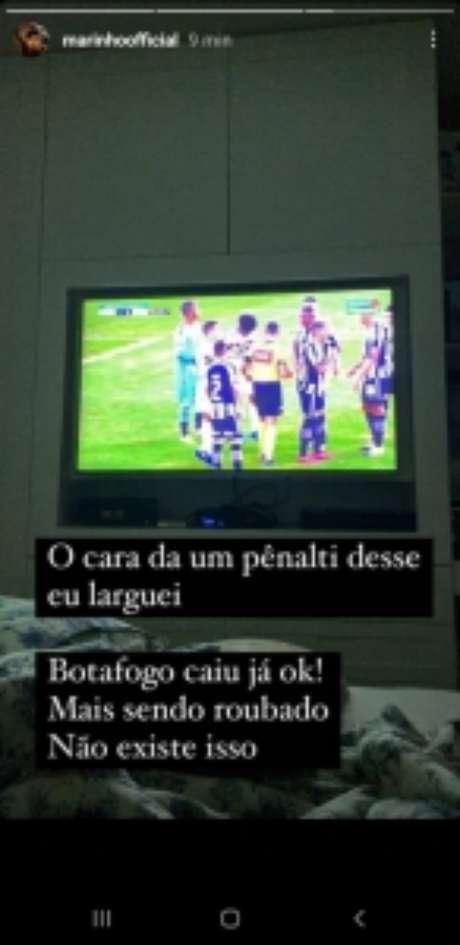 Marinho reclamou de pênalti contra o Botafogo (Reprodução/ Instagram)