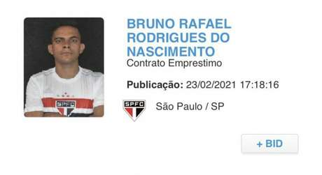 Registro de Bruno Rodrigues no BID (Foto: Reprodução)
