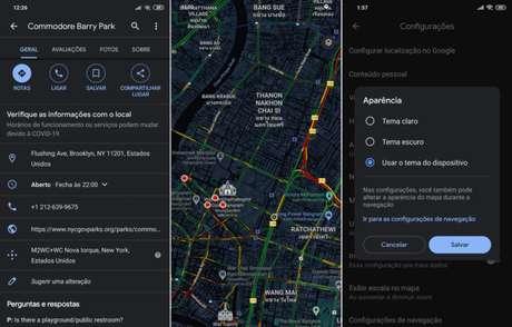 Modo escuro no Google Maps