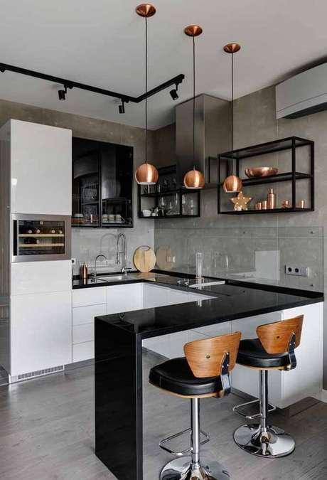 57. Cozinha com bancada preta e armários brancos – Via: Arkpad