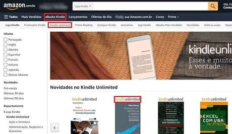 O catálogo do Kindle Unlimited visto pelo site da Amazon