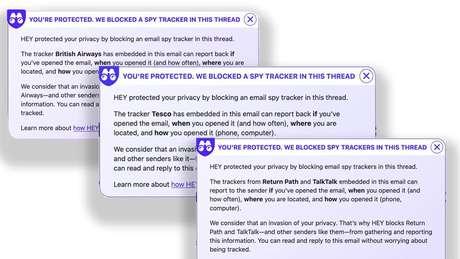 O serviço de emails Hey alerta seus usuários quando detecta o uso desses pixels