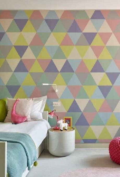 39. Modelo colorido de papel de parede para quarto de criança – Foto: Pinterest