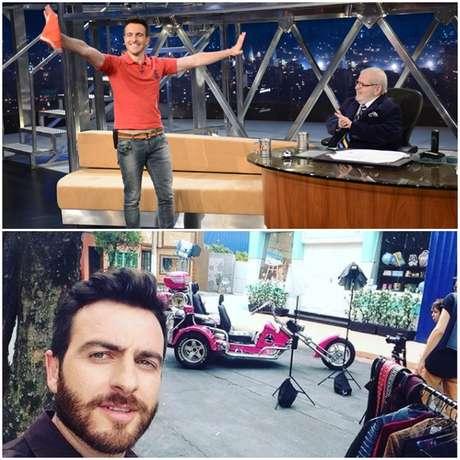 O ator na primeira vez que esteve no talk show da Globo e no set da novela 'Carinha de Anjo', do SBT, da qual participou
