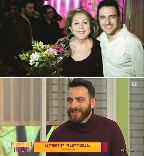 Arthur com Aracy Balabanian, atriz descendente de armênios, e em entrevista a um canal na Armênia a respeito de sua paixão pelo Brasil