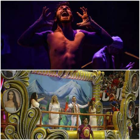 O artista em cena de um espetáculo teatral e em carro alegórico no desfile da escola de samba paulistana Rosas de Ouro em homenagem aos armênios e seus descendentes no Brasil