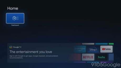 Tela inicial do Google TV básico