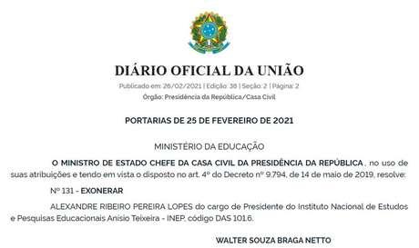 Demissão foi oficializada em edição do Diário Oficial da União na madrugada desta sexta-feira, 26.