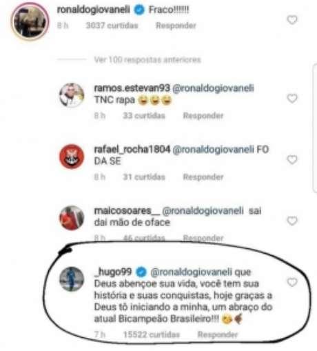 Resposta de Hugo a Ronaldo Giovaneli (Foto: Reprodução)