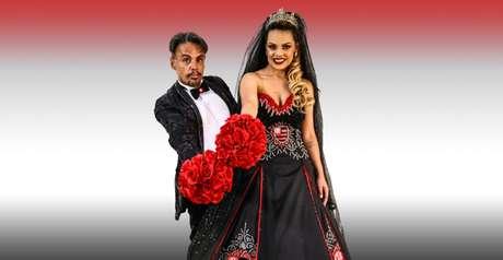 As cores do Flamengo bicampeão do Campeonato Brasileiro se destacam em vestido de noiva temático