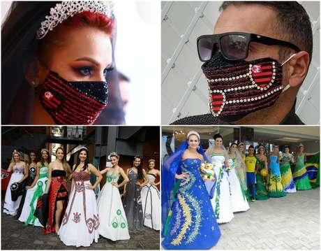 Acima, máscaras para noivos flamenguistas em tempos de pandemia de covid-19; abaixo, coleções de Eddel inspiradas em times de futebol e na Seleção