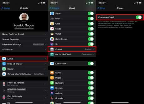 Configurações das Chaves do iCloud