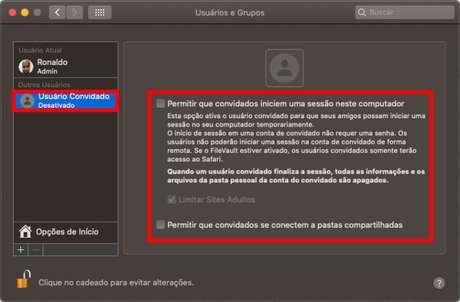Criação de usuário convidadeo no macOS