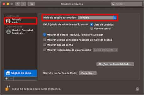 Configuração de inicialização do macOS