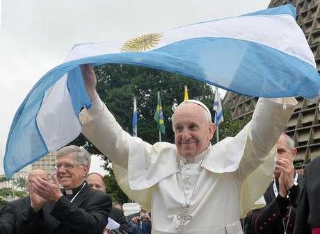 Papa Francisco com a bandeira da Argentina