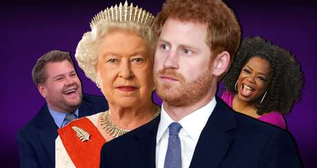 A rainha Elizabeth e o príncipe Harry entre o comediante James Corden e a apresentadora Oprah Winfrey: a mídia usada mais uma vez para desafiar o poder da monarquia