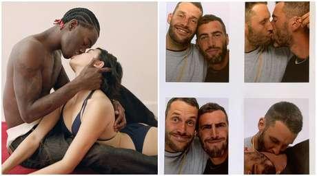 Um casal interracial em foto do Verão 2021 da marca Jacquemus e o próprio estilista com o namorado