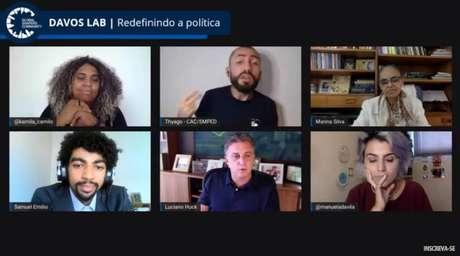 Ao lado da ex-ministra Marina Silva (Rede) e da ex-deputada Manuela D'Ávila (PCdoB), Luciano Huck participoudopainel virtual Davos Lab Brasil, iniciativa do Fórum Econômico Mundial.