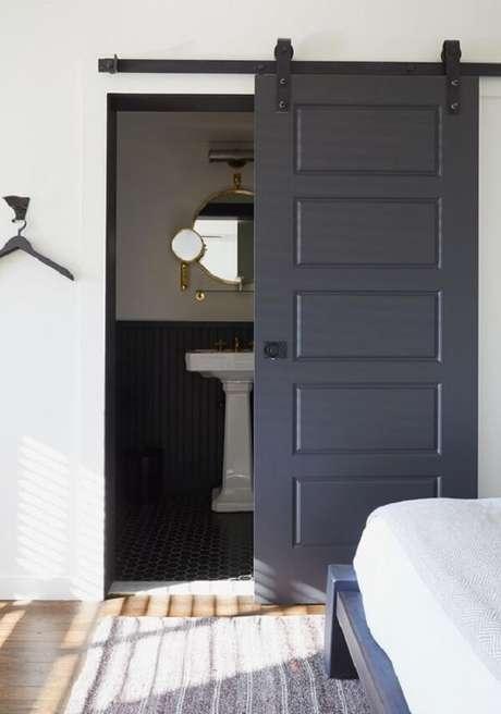 1. Modelo de porta de correr para quarto simples com acabamento colorido. Fonte: Revista Viva Decora 2