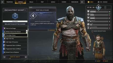 Tela de status God of War