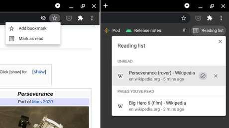 Chrome 89 permite salvar links para ler mais tarde