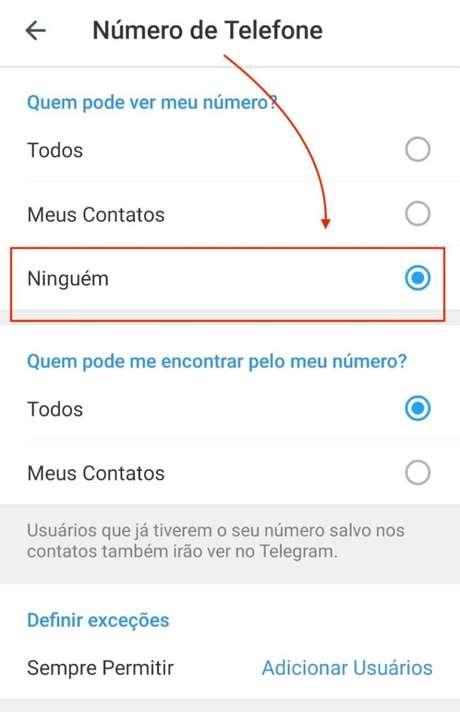 Numero de Telefone no Telegram