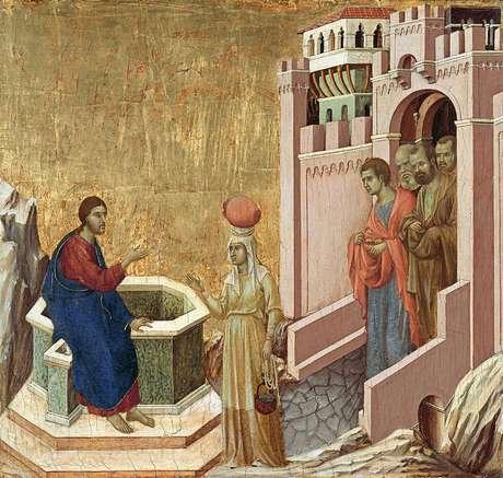 "O símbolo do poço é comum, como na obra ""Cristo e a Samaritana"", de Duccio di Buoninsegna (1310-1311)"