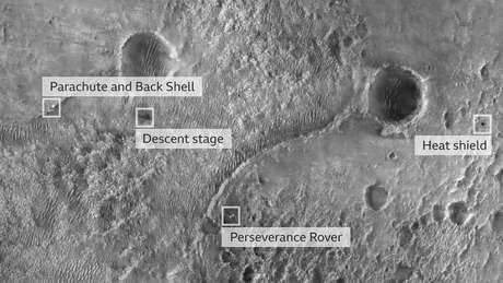 A primeira imagem da Perseverance na superfície foi tirada pela câmera High Resolution Imaging Experiment a bordo do Mars Reconnaissance Orbiter da Nasa