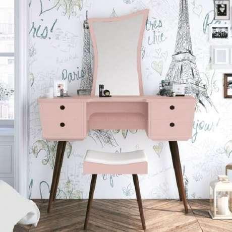 47. Penteadeira rosa com design moderno e sofisticado. Fonte: Pinterest