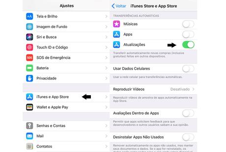Transferência automática de atualizações no iPhone